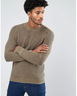 Man Contrast Knit Sweater In Beige