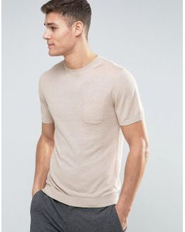 Man Knitted T-shirt In Beige