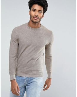Man Textured Sweater In Brown Marl