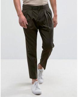Man Slim Fit Pleated Pants In Khaki