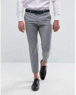 Man Slim Fit Smart Trousers In Light Grey