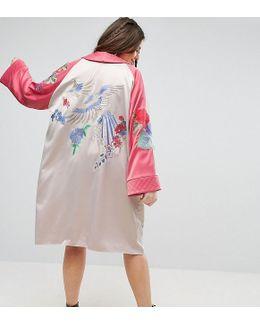 Premium Kimono With Bird And Floral Embroidery