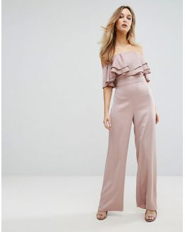 Bandeau Jumpsuit With Ruffle Detail