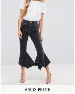 Petite Farleigh High Waist Slim Mom Jeans With Extreme Waterfall Hem In Washed Black