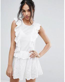 Broderie Lace Ruffle Mini Dress