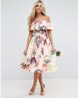 Wedding Print Structured Prom Midi Dress