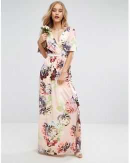 Wedding Print Soft Flutter Sleeve Maxi Dress