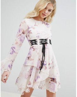 Corset Detail Floral Swing Dress