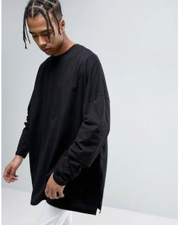 Extreme Oversized Long Sleeve T-shirt With Super Long Sleeves In Black