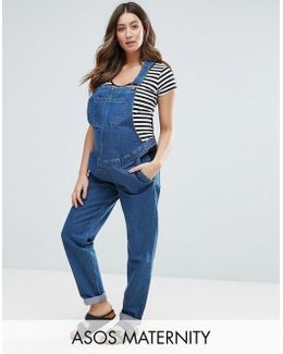 Denim Dungaree In Stonewash Blue