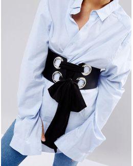 Large Eyelet Corset Belt With Chiffon Tie