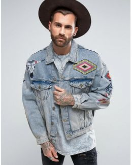 Oversized Denim Jacket With Embroidery In Blue Wash