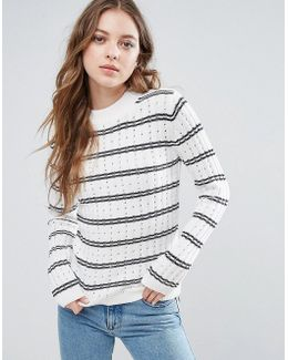 Po Cashmere Wool Mix Knit Stripe Jumper