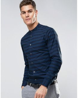 Dark Stripe Grandad Collar Shirt