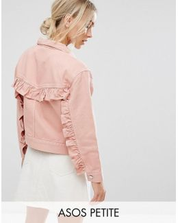 Denim Jacket With Ruffle Back In Washed Pink
