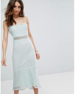 Lace Cutwork Detail Fishtail Midi Dress
