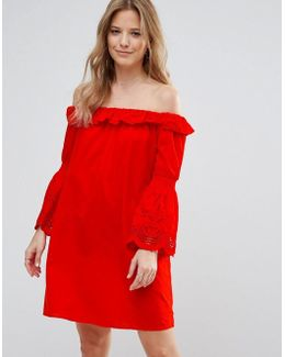 Bardot Dress With Fluted Sleeve