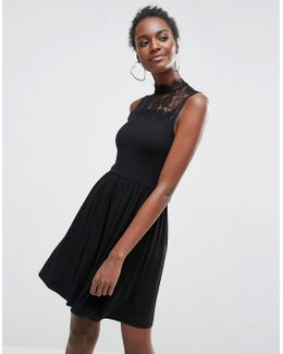 High Neck Skater Dress With Lace Inserts