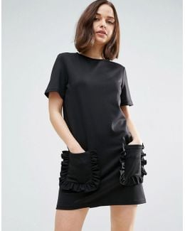 T-shirt Dress With Frill Pockets