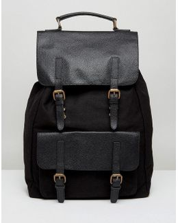 Backpack In Black Canvas With Leather Trims