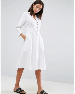 Midi Dress With Popper Detail