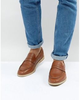 Penny Loafers With Woven Detail In Tan