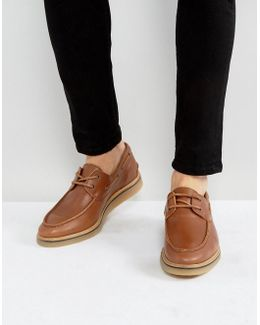 Boat Shoes In Tan Leather With Gum Wedge Sole