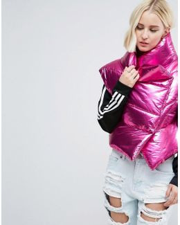 Statement Metallic Sleeveless Puffer Jacket