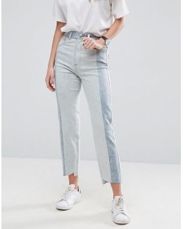 Deconstructed Straight Leg Jeans In Tonal 80s Bleach Light Acid Wash