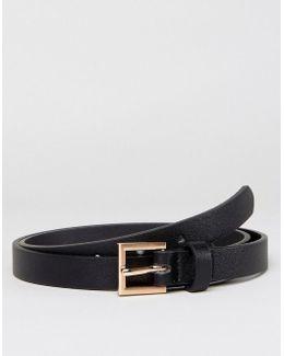 Smart Super Skinny Belt With Burnished Rose Gold Buckle