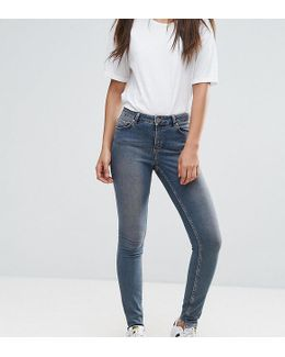 Tall Lisbon Skinny Mid Rise Jeans In Dita Tinted Mid Wash With Reverse Stepped Hem