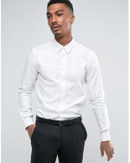 Skinny Button Down Smart Shirt With Stretch