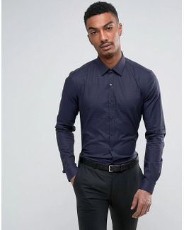 Skinny Smart Shirt With Stretch In Tonal Houndstooth