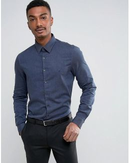 Skinny Smart Shirt With Stretch In Brushed Cotton