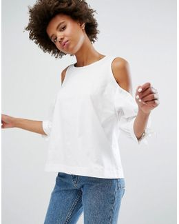 Cold Shoulder Balloon Sleeve Blouse