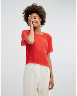 Pleated Sheer T-shirt