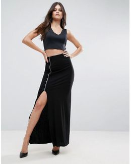 Maxi Skirt With Thigh Split And Zip Detail