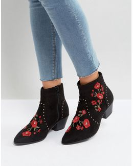 Festival Rose Embroidered Ankle Boots