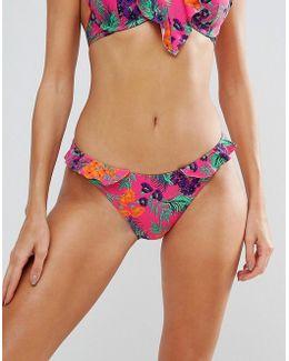 Tropical Frill Hipster Bikini Bottom