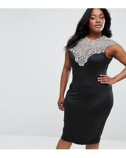 Plus Midi Dress With Lace Top
