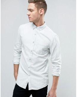 Regular Fit Denim Shirt In Off White