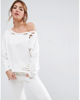 Lounge Ripped Raw Edge Off The Shoulder Sweat