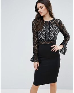 Pencil Dress With Lace Body