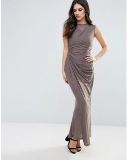 Slinky Maxi Dress With Ruched Detail