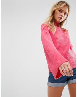 Jumper In Rib With Roll Neck And Flared Sleeves