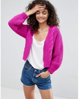 Cropped Cardigan With Chunky Cable Stitch