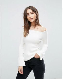 Sweater In Rib With Off Shoulder And Fluted Sleeves