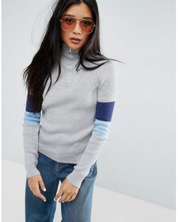 Sweater In Metallic With Zip Detail And Stripe Sleeve