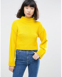Chunky Sweater In Crop With High Neck