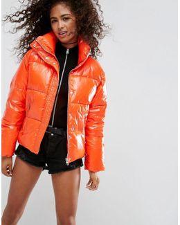 Padded Jacket In Wet Look